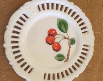 Milk Glass Plate with Hand Painted Cherries