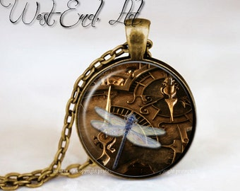Whimsical Steampunk Dragonfly Geekery Gears Vintage Dragon Fly   Steam Punk Jewelry Photo Pendant Necklace