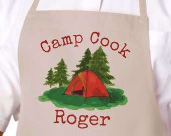 Ready to Ship, Camp Cook Camping Apron, Personalized Grilling Apron, Barbecue Apron, BBQ Apron, Father's Day Gift, Birthday Gift, Men's Gift