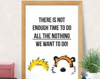 Nursery Decor, Kids Room Decor, Nursery Wall Art, Calvin and Hobbes print, Calvin Hobbes art, Cute Nursery Poster, Comics art print