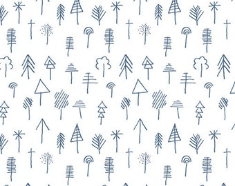 Forest and Tree Fabric - Lagom AGF Studio - Art Gallery Fabrics - Stick Forest Outlined - Fabric By the Half Yard
