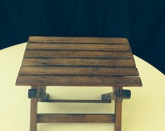 Teak folding plant table