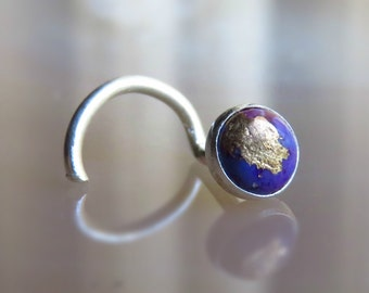 Purple Copper Turquoise Nose Stud - Turquoise Nose Piercing