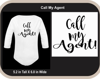 Call My Agent Custom Onesie Bodysuit - Call My Agent Bodysuit - Call My Agent Baby Suit