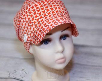 Red-orange bucket hat / bucket hat / child hat /red and white hat