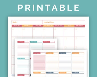 Monthly and Weekly Calendar Set