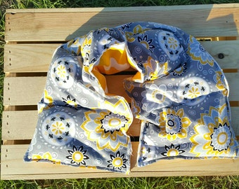 Rice Heating Pad,  Rice Bag, Hot pack Cold Pack, Rice Wrap (yellow/gray flowers)