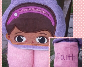 Doc McStuffins Inspired Hooded Towel with FREE Embroidered Name