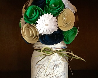 Rustic paper flower rose bouquet with white dasies, in a hand painted mason jar!