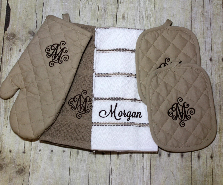 Monogrammed Kitchen Towel Kitchen Towel Set By OhSewCuteLLC