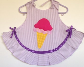 Baby Girls Ice Cream Dress, Purple Baby Dress, Baby Romper Dress, Hand Applique Dress, Handmade Dress, Baby Girls Clothing
