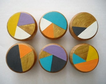 Handpainted wooden Drawer Knobs Funky Town - Set of 6