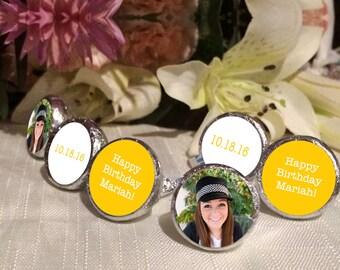 108 Photo Hershey Kiss® Stickers - Hershey Kiss Stickers Wedding - Personalized Hershey Kiss Labels - Birthday Hershey Kiss Seals - Yellow