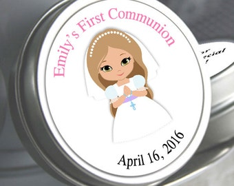 First Holy Communion, Candy Tins, Girls Holy Communion Mint Tins, Communion Favors, Party Favors, Candy Favors, Pink Communion Favors