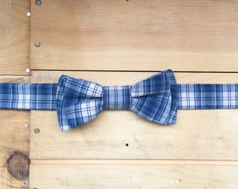 Hand Made Blue/Beige Plaid Bow Tie, Made From Reclaimed Cotton.