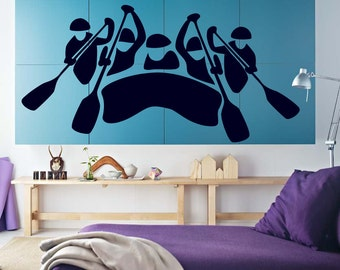 Wall Vinyl Sticker Decals Mural Room Design Pattern White Water Rafting River Paddle Boat Extreme Adrenalin Sport Hobby mi1125