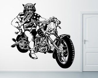 Wall Vinyl Sticker Decals Mural Room Design Pattern Motorcycle  Vehicle Bike Biker Wheels Speed Man mi440