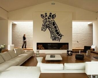 Wall Vinyl Sticker Decals Mural Room Design Pattern Art Giraffe Wild Animal Zoo Flora Nursery mi824