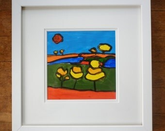"""Original Gouache Landscape Painting, Watercolor Landscape Painting 12""""x12"""" Framed, Original Watercolor Landscape Painting by Simon Bramble"""