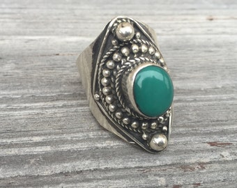Vintage Ring-Turquoise Ring-Sterling Silver-Handmade Ring-Vintage Ethnic Ring-Hippy-Gypsy