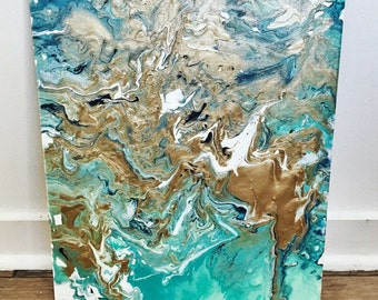 Turquoise & Gold Marble 16x20 Acrylic Abstract Painting