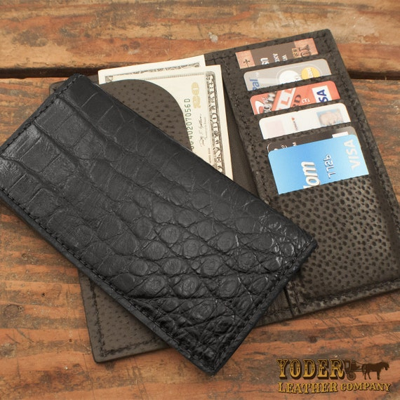 Alligator Black Rodeo Roper Checkbook Wallet Genuine Florida