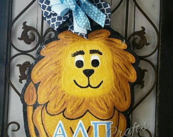 Lion Burlap Door Hanger Decoration or Wreath
