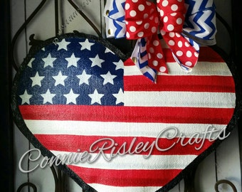 Patriotic Heart Burlap Door Hanger Decoration