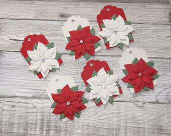 Premium Traditional Handmade Christmas Poinsettia Scallop Edge Tags in Red and Cream - set of 6