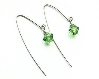 Swarovski earrings, sterling silver earrings, wire wrapped earrings, silver wire earrings, statement earrings, gemstone earrings