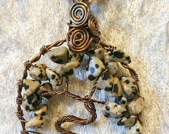 Dalmatian Jasper Tree of Life necklace