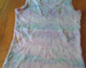 Pink and green lace print ribbed tank top