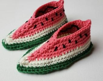 Crochet watermelon slippers - Infants size 5-6 - pdf pattern
