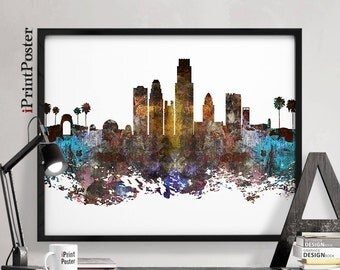 Los Angeles , Los Angeles skyline, California, Print, Poster, LA, Wall art, Gift, Home Decor, Distressed, Abstract, City print iPrintPoster.
