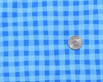 1 yard Henry Glass and Co. Cuteville County Fair- Blue Gingham by Cathy Heck 7982 - boy fabric- gingham- blue - comes with one free applique