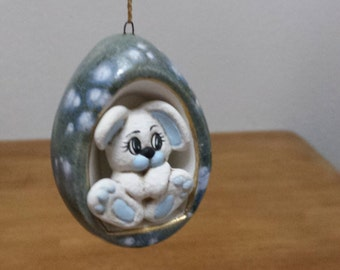 Ceramic Crystal Glazed Egg with Stained Baby boy Bunny Ornament (#241B)