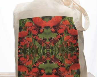 Kaleidoscope Red Poppies Canvas Tote