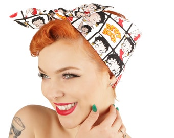 rock rockabilly s pin up betty boop fabric bandana headband headscarf betty
