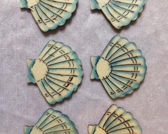 6 Laser Cut Wooden Seashells Sea Shells Wood Shells Scrapbooking Embellishments Craft Supplies Wedding Supplies