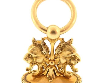 Victorian 14K Gold Mythological Griffin Watch Fob Pendant Seal
