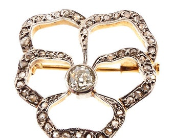 Edwardian 18K Gold, Platinum & Diamond Openwork Pansy Brooch