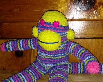 Bright Yellow, Pink, White and Blue Striped Sock Monkey