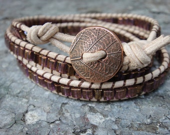 Triple wrap leather bracelet, gloss copper, leaf button, glass beads