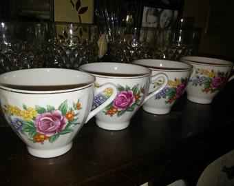 Vintage Porcelain Made In Japan Tea Cups Set of 4.