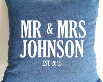 Custom Mr & Mrs Pillow