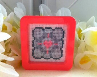 Companion Cube Cross Stitch