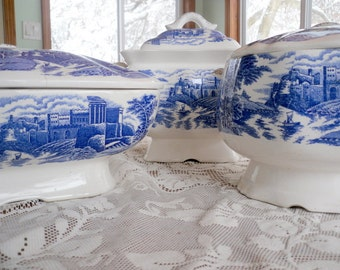 Blue Willow China Three Piece Heated Serving Set
