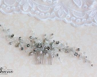 Wedding Hair Comb, Wedding Hair Accessory, Bridal Headpiece, Bridal Hair Comb, Wedding Headpiece, Bridal Hair Vine, Silver Leaf,