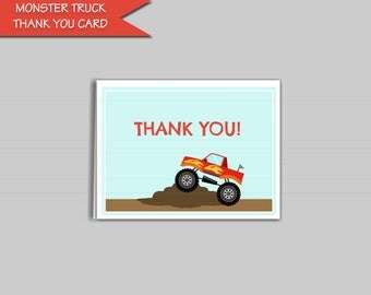 "Monster Truck Thank You Card Printable Digital Download: ""MONSTER TRUCK"" thank you card with aqua, blue, and red digital file to DIY"