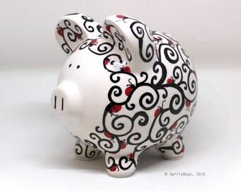 Swirly Piggy Bank, hand painted